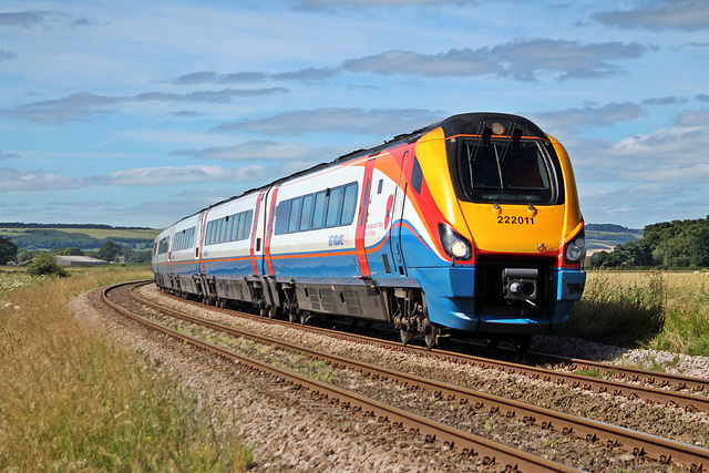 East Midlands Trains class 222 222011 at Willerby Carr Crossing with 1F05 06:36 St.Pancras - Scarborough 8th July 2017
