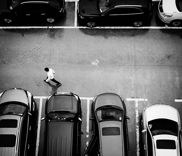 Between cars