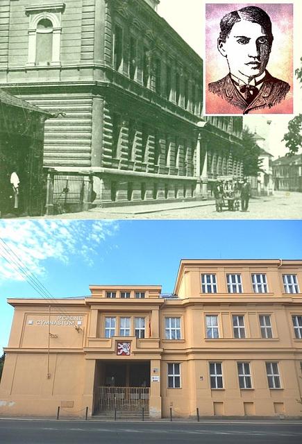 Gimnazio en Čáslav, kiun frekventadis F. V. Lorenz