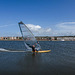 Wide angle view of a windsurfer