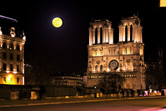 Supermoon over Notre Dame, 1 February 2018