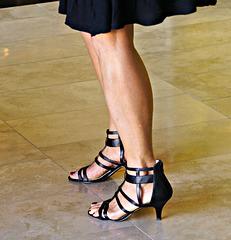 wife's legs and nine west heels