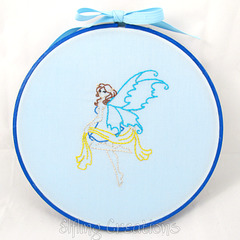 Blue Fairy Embroidered Wall Art