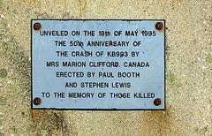 Memorial to RCAF Lancaster crew - the dedication