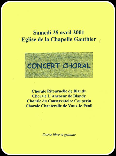 Concert à La Chapelle Gauthier le 28 avril 2001