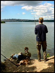 fishing at Warleigh Point