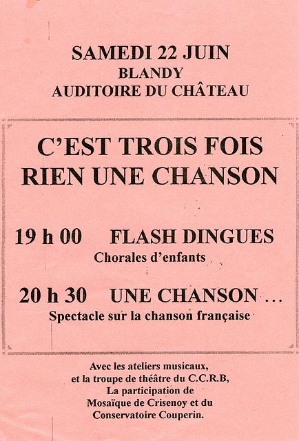 Spectacle à Blandy-les-Tours : C'est trois fois rien une chanson le 22 juin 2002