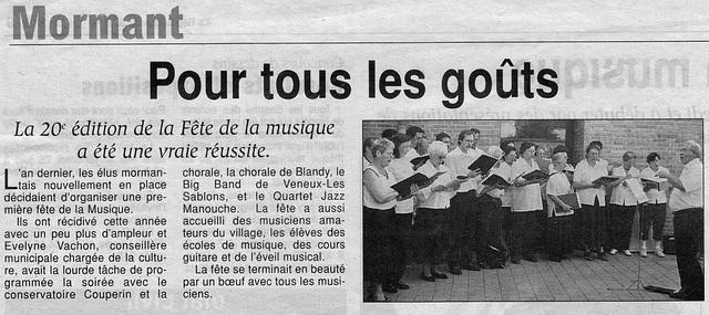 Fête de la musique à Mormant le 21 juin 2002