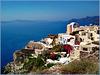 Santorini : ombrelloni e bouganville