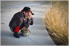 die Fotografin ...  Frosch-Perspektive ...