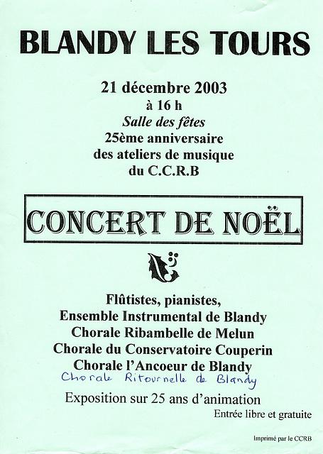 Concert à Blandy-les-Tours le 21 décembre 2003