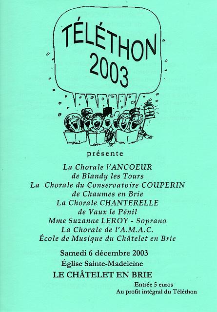 Concert au Châtelet-en-Brie le 06 décembre 2003