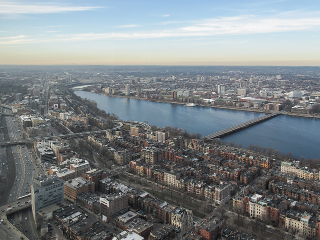 Enjoying the Charles River from a safe distance during a January afternoon haze condition.