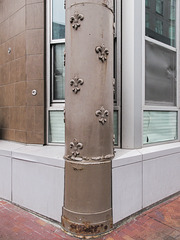 Let fleurs-de-lis pretty up this brown column on this 1899 building that is now Loft Condos.
