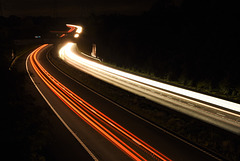 Motorway at night.