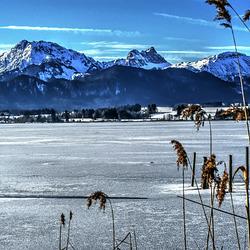 Schnee auf dem Hopfensee. Dahinter von r.n.l. Breitenberg, Aggenstein, Brentenjoch und Füssener Jöchle.  ©UdoSm