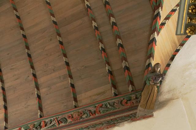 Détails de la voûte en bois