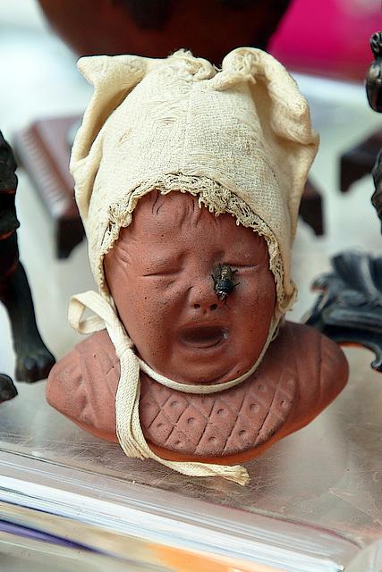 La mouche fait partie intégrante de ce petit buste en terre de 10 cm de hauteur .