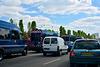 Paris 2017 – Five Gendarmerie vans passing through the traffic jam