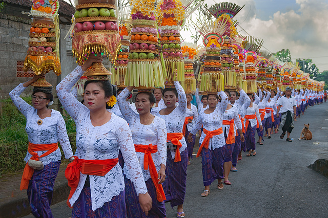 Parade of temple women in Sembung