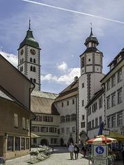 Wangen im Allgäu, in der Spitalstraße mit Blick zum Postplatz