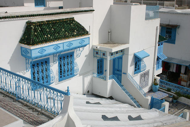 Balcon bleu à Sidi Bou Said (Tunisie)