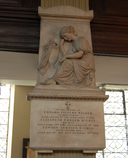 Memorial to Edward Villers Wilkes, Saint Philip's Cathedral, Birmingham