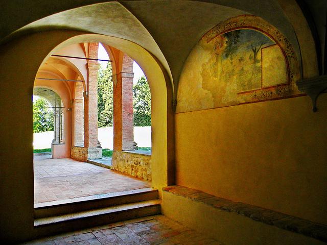 "Pennabilli (RN). Loc: Maciano; Convento di Santa Maria dell'Oliva (1529).  -  Marecchia river valley; Maciano's village. ""Holy Mary of the Olive"" monastry, founded in 1529 A.D."