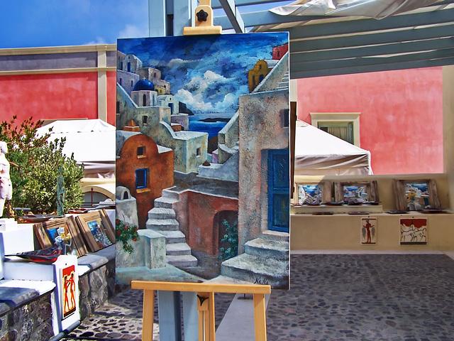 Santorini : Thera, gli artisti del luogo producono quadri della loro 0riginale città - (969)