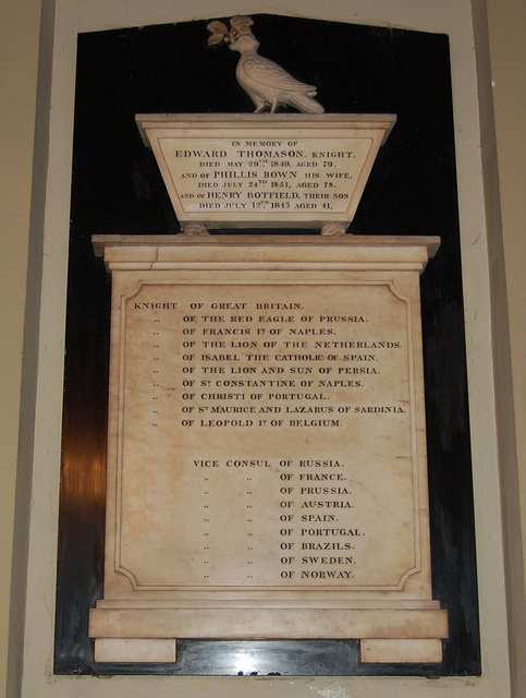 Memorial to Sir Edward Thomason, Saint Philip's Cathedral, Birmingham