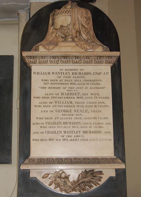 Memorial to William Westley Richards, Saint Philip's Cathedral, Birmingham