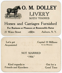 O. M. Dolley Livery, Auburn, N.Y. / Let's Get Acquainted