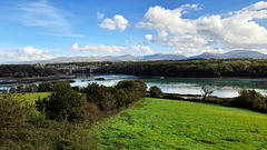 Menai Bridge from viewpoint on Anglesey