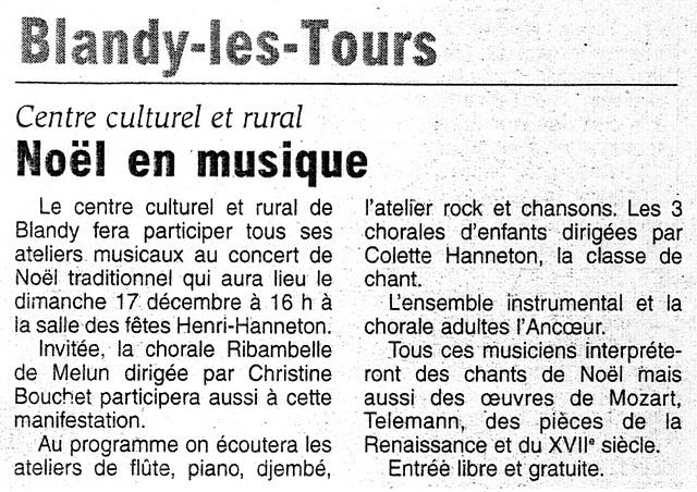 Concert de Noël à Blandy-les-Tours le 17/12/2006