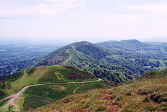 Looking south from Worcestershire Beacon towards Herefordshire Beacon (Scan from May 2001)