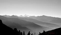 Blick vom Rofan bis zu den Zillertaler Alpen Gletscher