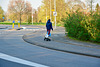 Riding an electric skateboard