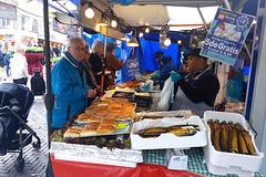 Fishmonger on the Saturday market in Leiden