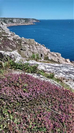 Pink - grey Cornish granite, deep blue Atlantic and purple heather. For Pam.