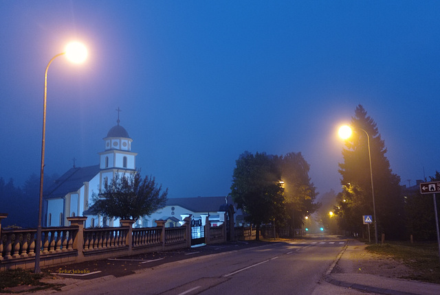 Church of the Nativity of the Blessed Virgin Mary in Kneževo in blue hour