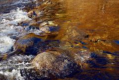 #54 Autumn colours reflected  in the river below Månafossen