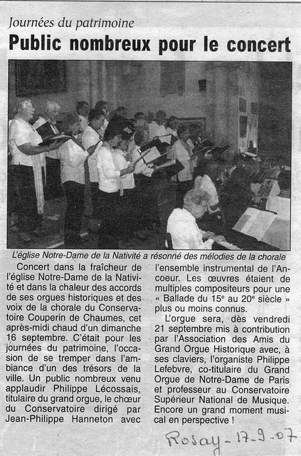 Concert à Rozay-en-Brie le 16 septembre 2007