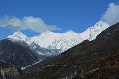 Khumbu, The Ridge of Nangpa Gosum with Peaks: Southern (7240m), Cho Ayu (7350m), Eastern (7296m) and Cho Oyu (8201m) at the Right
