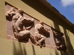 Sculpted reliefs.