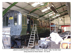 The Isle of Wight Steam Railway LBSCR brake 3rd Haven Street Works 19 7 2018