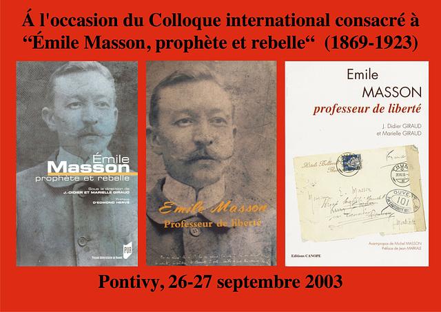 """Kolokvo pri """"Emile Masson, profeto kaj ribelulo"""""""