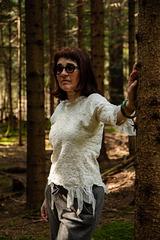 felt blouse silk and merino wool