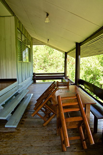 Viewing deck of one of the lodges at Huay Maekhamin waterfall in Kanchanaburi province, Thailand