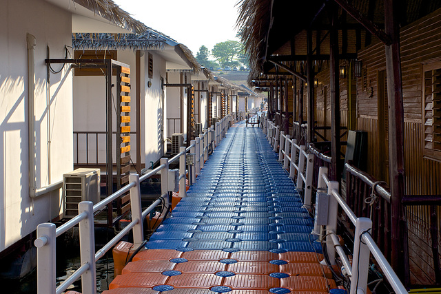 Floating walkway to the floating rooms of Lake Heaven Resort on Srinakarin lake in Kanchanaburi province, Thailand