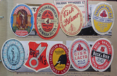 Beer bottle labels, from 1950s